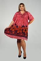 Платье - туника бордовая с рукавом, на 52-62 размеры, фото 1
