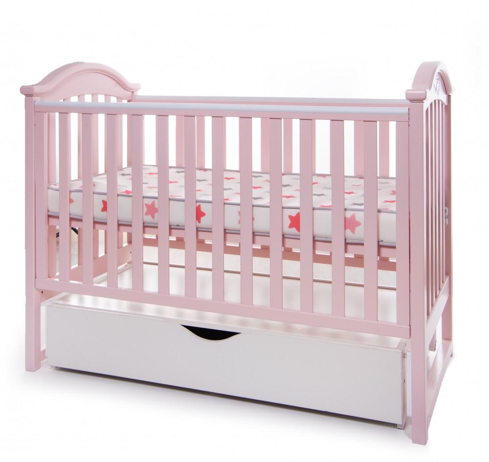 Кроватка Twins iLove маятник ящик опускной бок грызунок розовый Бесплатная доставка