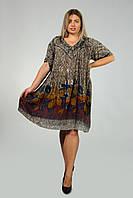 Платье - туника серо-коричневая с рукавом, на 52-62 размеры, фото 1