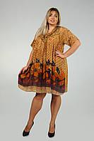 Платье - туника светло-коричневая с рукавом, на 52-62 размеры, фото 1