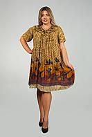 Платье - туника коричнево-оливковая с рукавом, на 52-62 размеры, фото 1