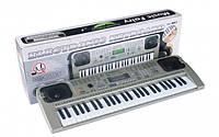 Детский пианино синтезатор MQ-807 USB, 54 клав с микрофоном. Работает от сети и батареек. 2 активные колонки.