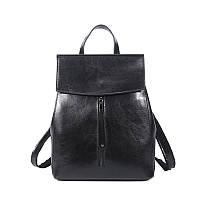 Рюкзак сумка трансформер женский кожаный с клапаном и вертикальным карманом (черный)