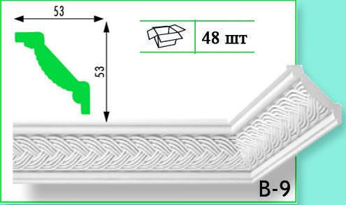 Плинтус потолочный Marbet В9 53х53мм 2м.
