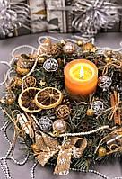 """Рождественский венок с гирляндой на батарейках «Цветок Скандинавии"""""""
