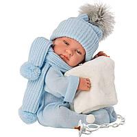 Испанская Кукла Llorens 84315 Младенец Тино 43 см в синем комбинезоне, фото 1