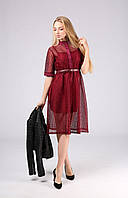 VM-Villomi Бордовое платье в сетку