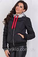Куртка женская осенне-зимняя короткая плащевка на синтепоне капюшон ЗОЛОТО 46,52 размеров