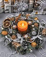 Рождественский венок  с гирляндой от батареек «Шикарный серебряный», фото 1