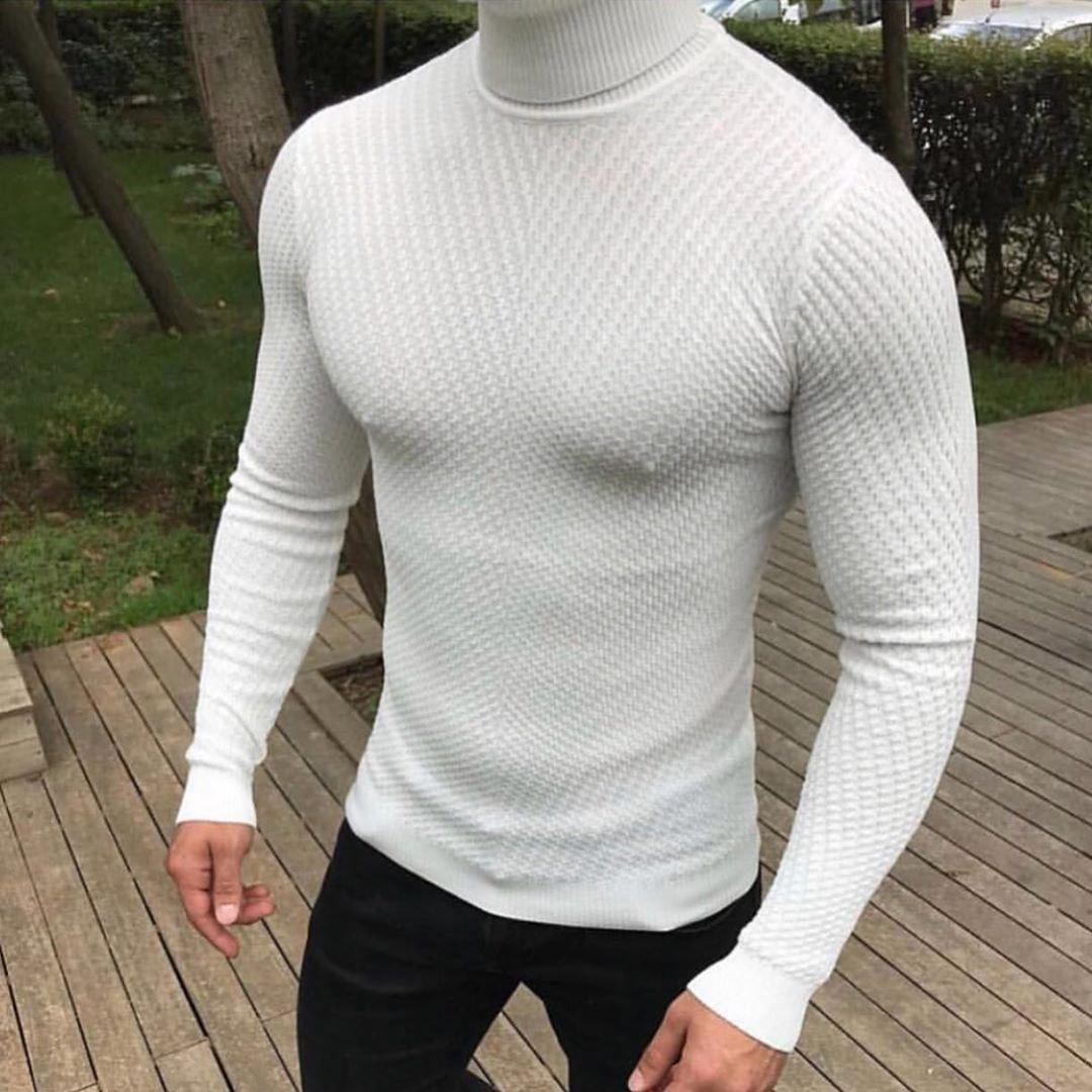 😜 Гольф - Мужской гольф (белый) под горло