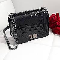 Женская сумка стеганная лакированная черная