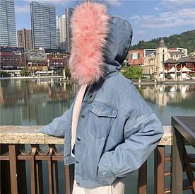 Джинсовая женская куртка с большим меховым капюшоном (демисезон/еврозима)