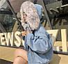 Джинсовая женская куртка с большим меховым капюшоном (демисезон/еврозима), фото 8