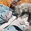 Джинсовая женская куртка с большим меховым капюшоном (демисезон/еврозима), фото 10