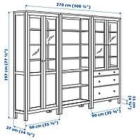 IKEA HEMNES Книжный шкаф с дверями, светло-коричневый, стекло (192.357.63)