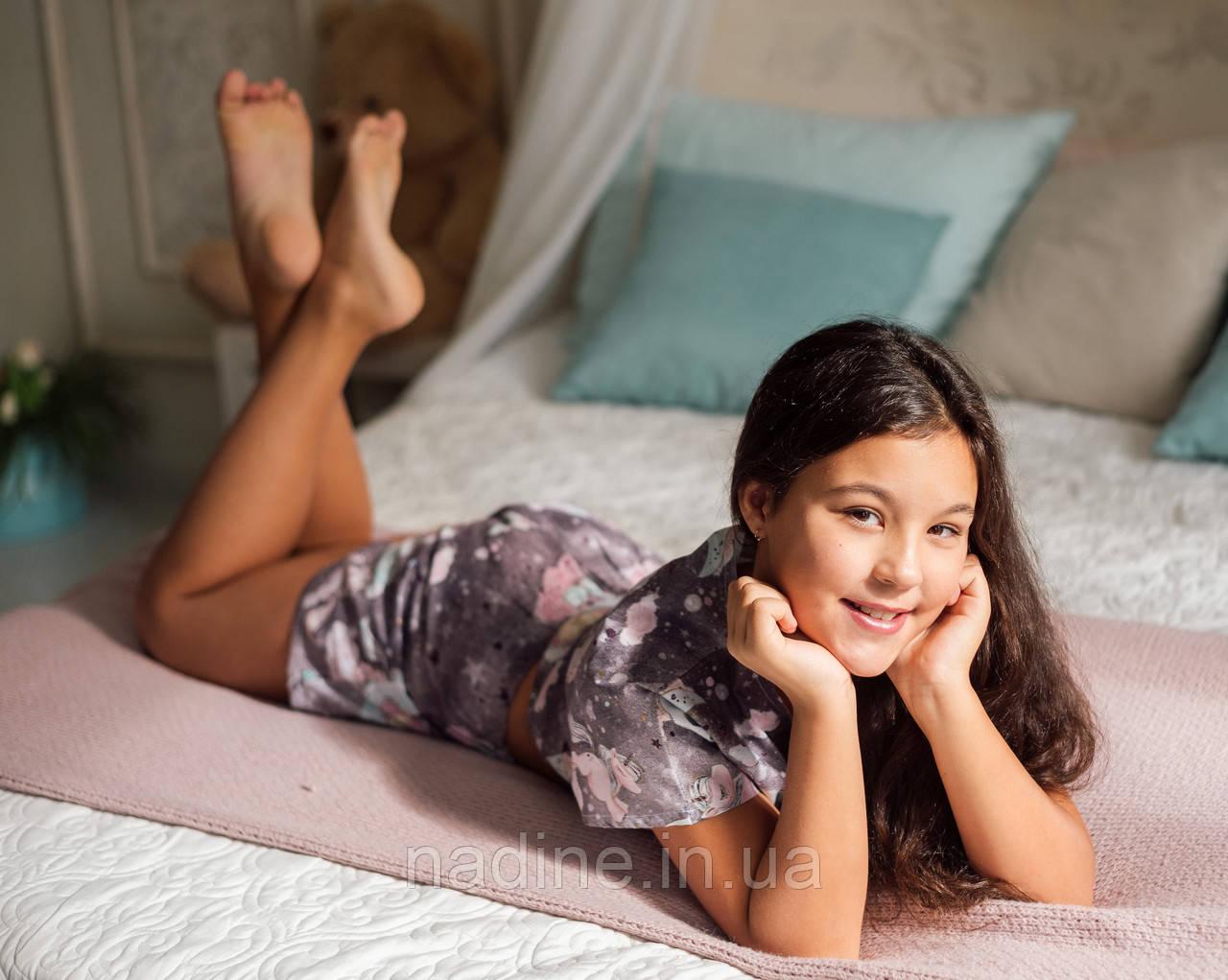 Пижама на девочку подростка Eirena Nadine (786-58) 158/40 Серая