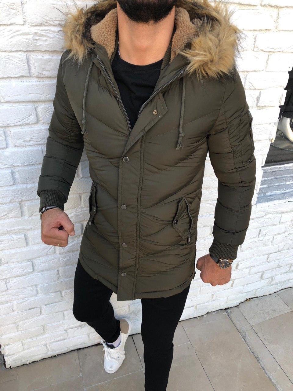 😜 Куртка - Мужскаяя куртка зима цвета хаки удлиненная с утепленным капюшоном (овчина)