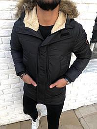 😜 Куртка - Мужскаяя черная куртка з с утепленным капюшоном (овчина)