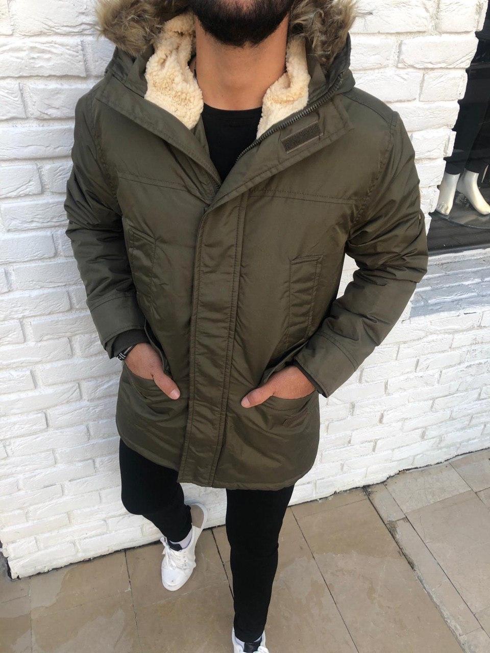 😜 Куртка - Мужскаяя куртка з с утепленным капюшоном (овчина)