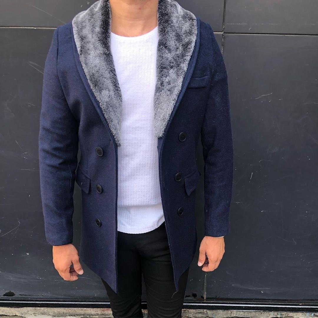 😜 Пальто - Мужское темно-синее пальто с меховым воротником