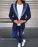 😜 Пальто - Мужское темно-синее пальто с меховым воротником, фото 2