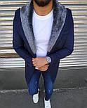 😜 Пальто - Мужское темно-синее пальто с меховым воротником, фото 3