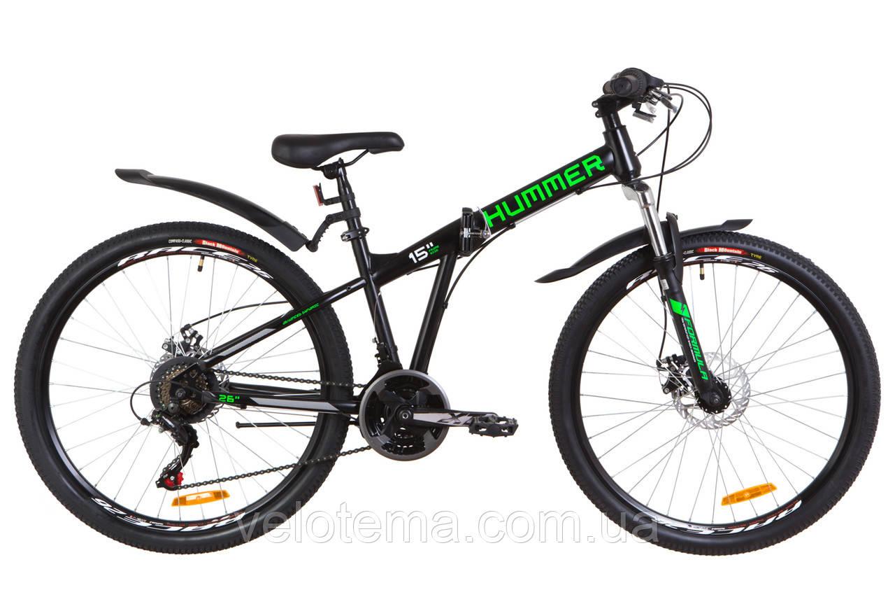 """Велосипед 26"""" Formula HUMMER AM 14G  DD  рама-15"""" St черно-салатный (м)  с крылом Pl 2019"""