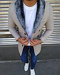 😜 Пальто - Мужское бежевое пальто с меховым воротником, фото 2