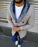 😜 Пальто - Мужское бежевое пальто с меховым воротником, фото 3