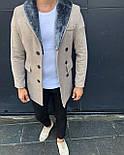 😜 Пальто - Мужское бежевое пальто с меховым воротником, фото 4