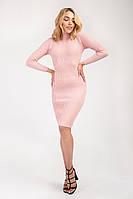 Нежное пудровое платье тонкой вязки, фото 1