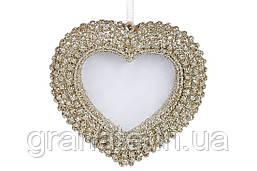 Декоративная - подвеска Фоторамка Сердце 7 см, цвет - шампань (24 шт в упаковке )