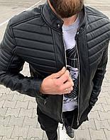 Куртка мужская осенне-зимняя стеганая черная из кожзама на меховой подкладке