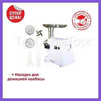 Мясорубка с прочным шнеком, Электрическая мясорубка с металлическим лотком, 2200W, качественные ножи