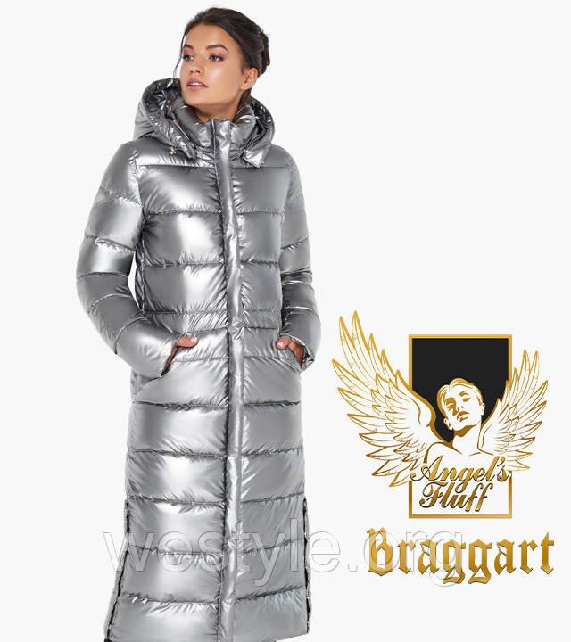 Воздуховик удлиненный с капюшоном зимний женский Braggart Angel's Fluff - 31007 серебро