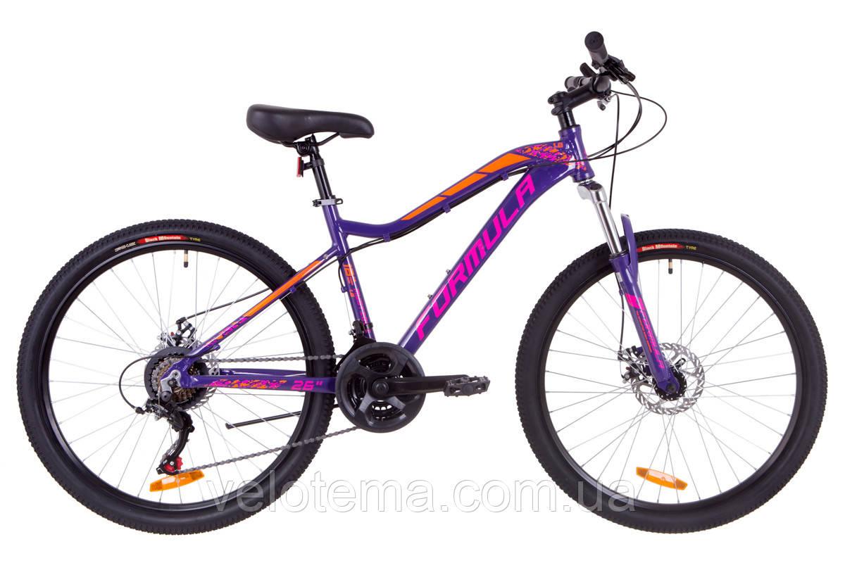 """Велосипед 26"""" Formula MYSTIQUE 1.0 AM 14G  DD  рама-13,5"""" Al фиолетово-оранжевый   2019"""