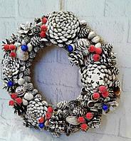 Новорічний інтер'єрний вінок на двері з червоних та синіх ягід . Ручна робота, фото 1