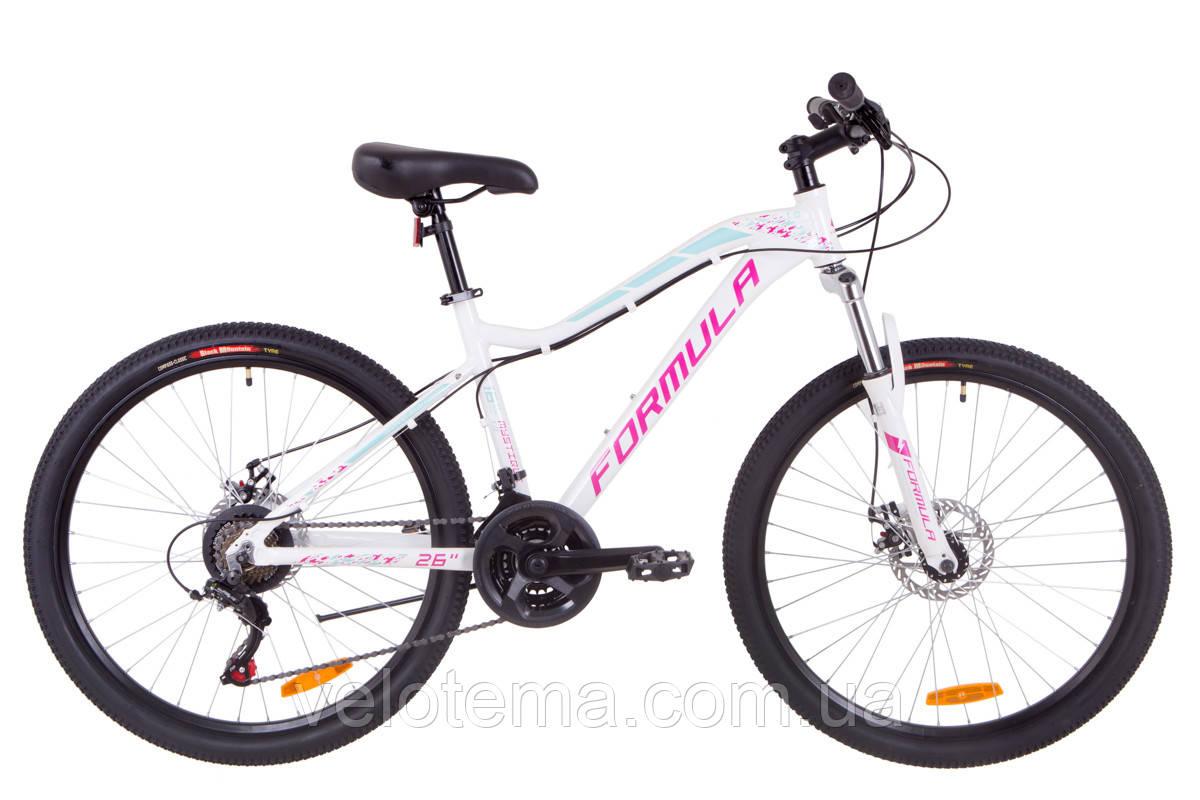 """Велосипед 26"""" Formula MYSTIQUE 1.0 AM 14G  DD  рама-13,5"""" Al бело-голубой с фиолетовым   2019"""