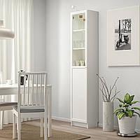 IKEA BILLY/OXBERG Книжный шкаф с дверями, белый, стекло (392.874.21)