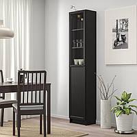 IKEA BILLY/OXBERG Книжный шкаф с дверями, черно-коричневый, стекло (692.874.10)