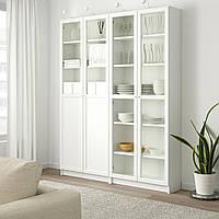 IKEA BILLY/OXBERG Книжный шкаф с дверями, белый, стекло (792.807.38)