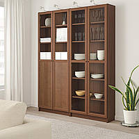 IKEA BILLY/OXBERG Книжный шкаф с дверями, шпон коричневого ясеня, стекло (892.807.47)