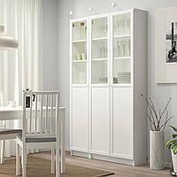 IKEA BILLY/OXBERG Книжный шкаф с дверями, белый, стекло (792.817.90)