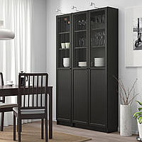 IKEA BILLY/OXBERG Книжный шкаф с дверями, черно-коричневый, стекло (892.817.80)