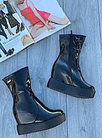 Ботинки женские лаковые Евро-Мех 6 пар в ящике черного цвета 35-40, фото 2