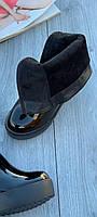 Ботинки женские лаковые Евро-Мех 6 пар в ящике черного цвета 35-40, фото 4