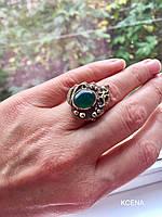 Перстень с природным Агатом зеленого цвета из меди с вставками латуни