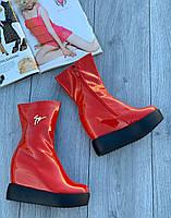 Ботинки женские лаковые Евро-Мех 6 пар в ящике красного цвета 35-40, фото 2