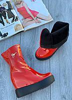 Ботинки женские лаковые Евро-Мех 6 пар в ящике красного цвета 35-40, фото 3