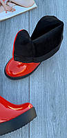 Ботинки женские лаковые Евро-Мех 6 пар в ящике красного цвета 35-40, фото 4